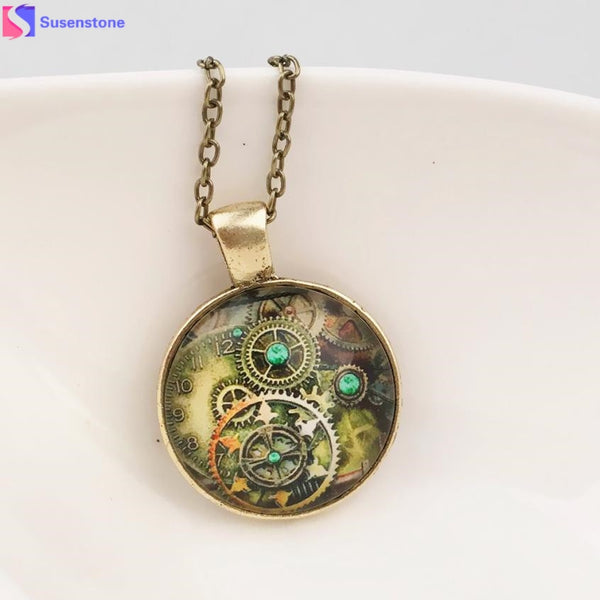 women necklace Life Tree Pendant Necklace Art Tree Glass Cabochon Bronze Retro mechanical gear time foreign jewelry necklace