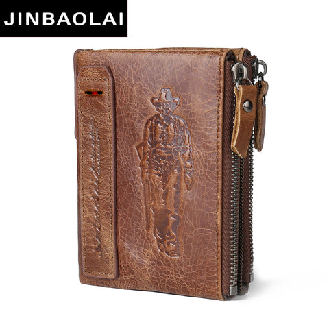 JINBAOLAI HOT Genuine Crazy Horse Cowhide Leather Men Wallet