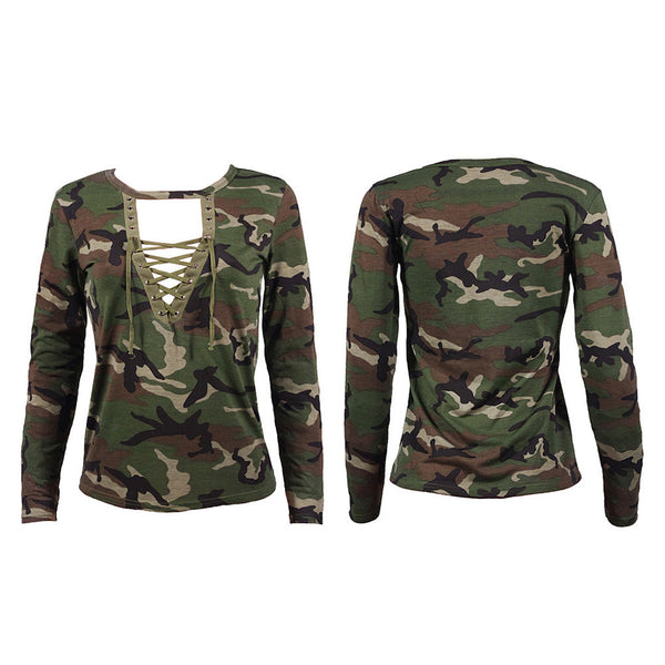 Fashion Women Long Sleeve Shirt Slim Casual Blouse Camouflage Print Tops