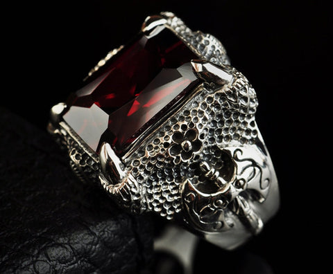 Silver Retro China Dragon Ring Claw for Men