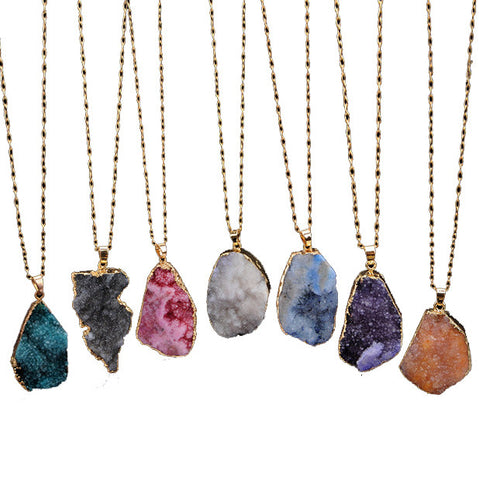 Natural Stone Crystal Pendant Necklace for Men Women