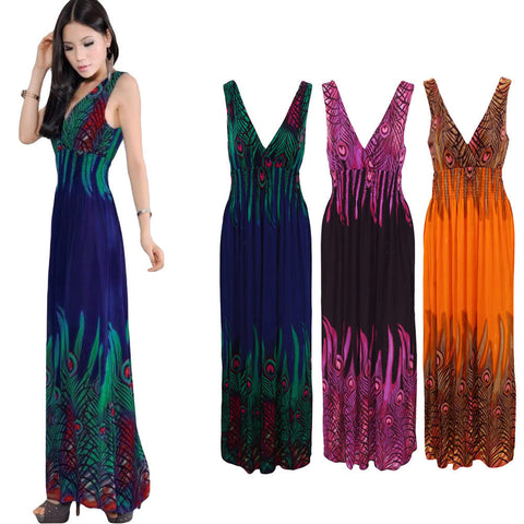 New Women Bohemian Long Dress V Neck Sleeveless