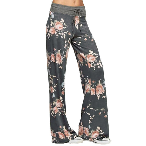 Women Casual Loose Boho Pants Floral Star Striped Wide Leg Pants