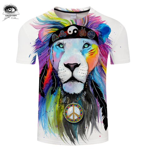 Hippy lion by Pixie cold Art Animal 3D T shirts Men