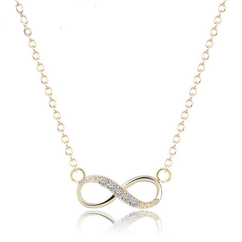 Tiny Crystal Infinity Necklace in Gold For Women