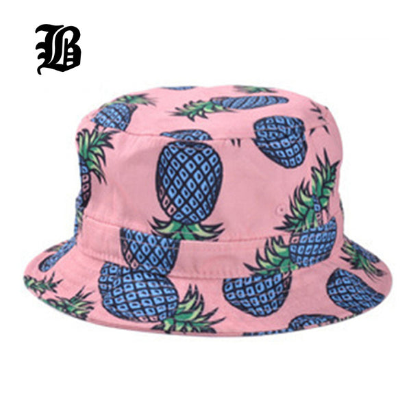 Super Cute! Pineapple Printed Bucket Hats unisex  Casual Cotton Fitted Hats