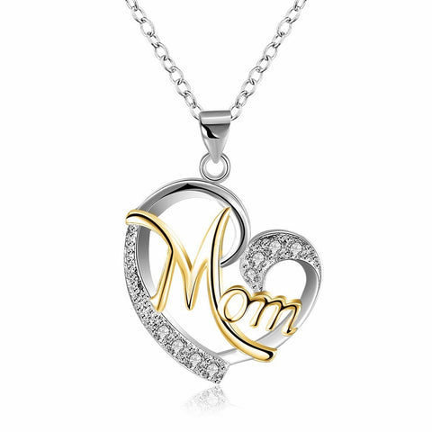 Women's  Rose Gold Mom's Love Shaped Diamond Necklace