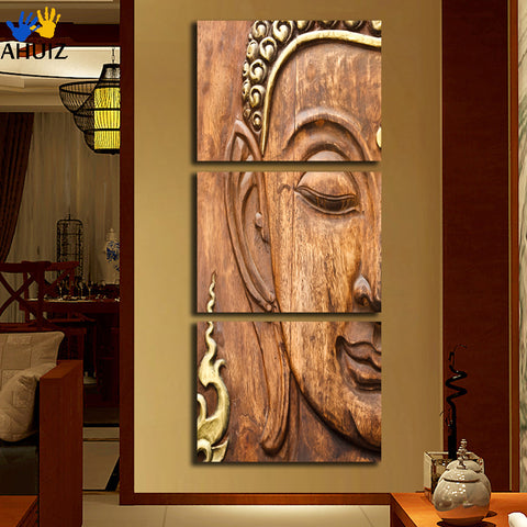 2018 New 3 Panel Buddhism Buddha Canvas Painting Antique Buda Picture Wall Art