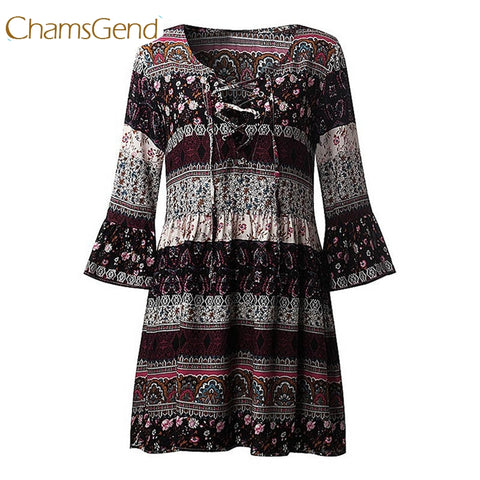 Women's bohemian Floral Print Flare Sleeve V Neck