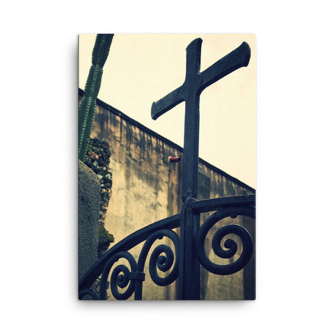 Wrought Iron Cross Canvas