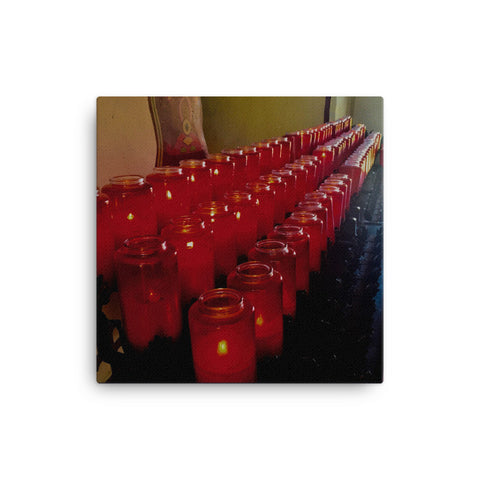 Red Prayer Candles Canvas