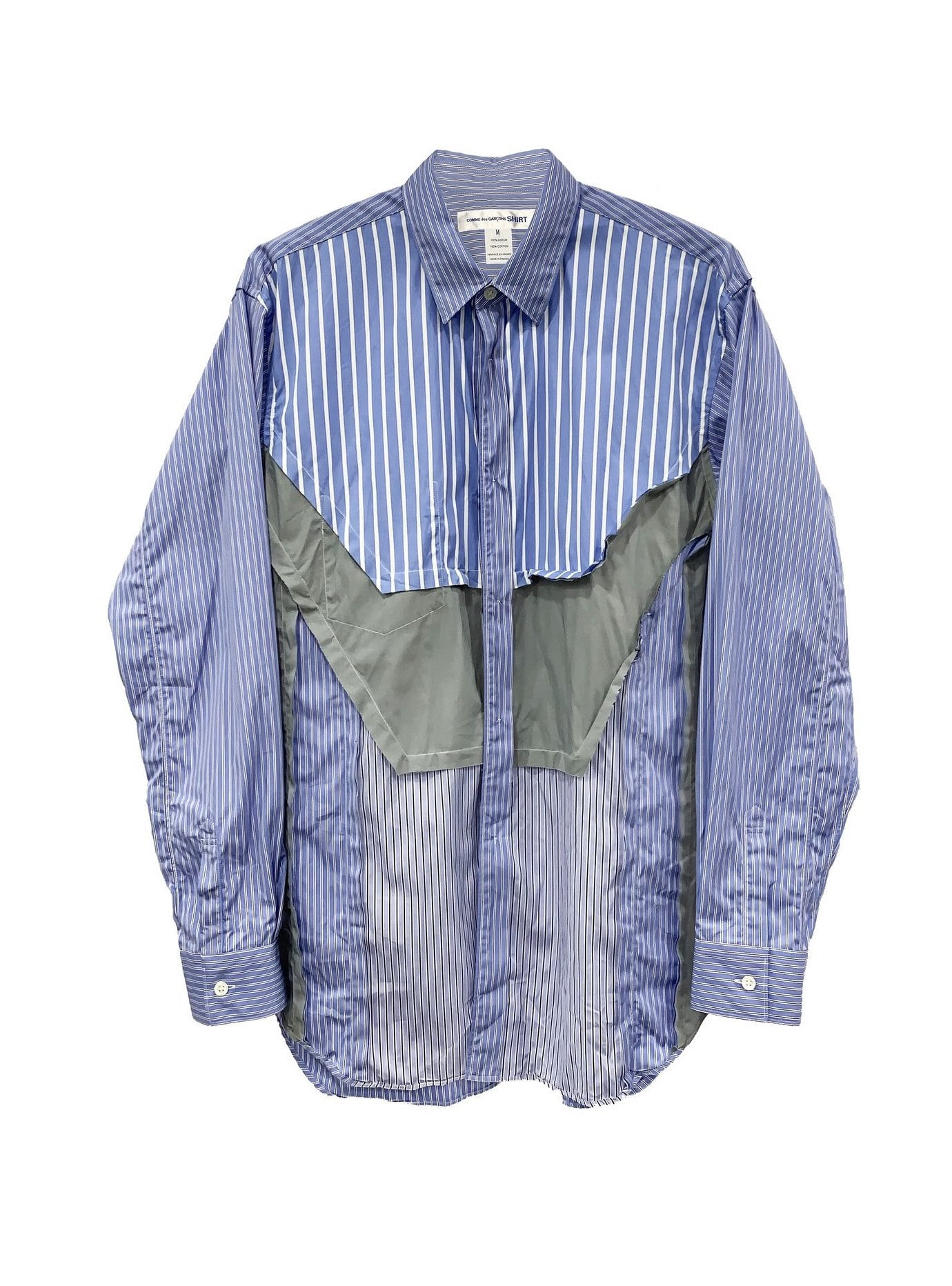 Patchwork Stripe Shirt (Blue and Grey) TOP COMME DES GARÇONS SHIRT - NOLM - Clothes Online - nolmau.com - Sydney-Australia Online Shopping