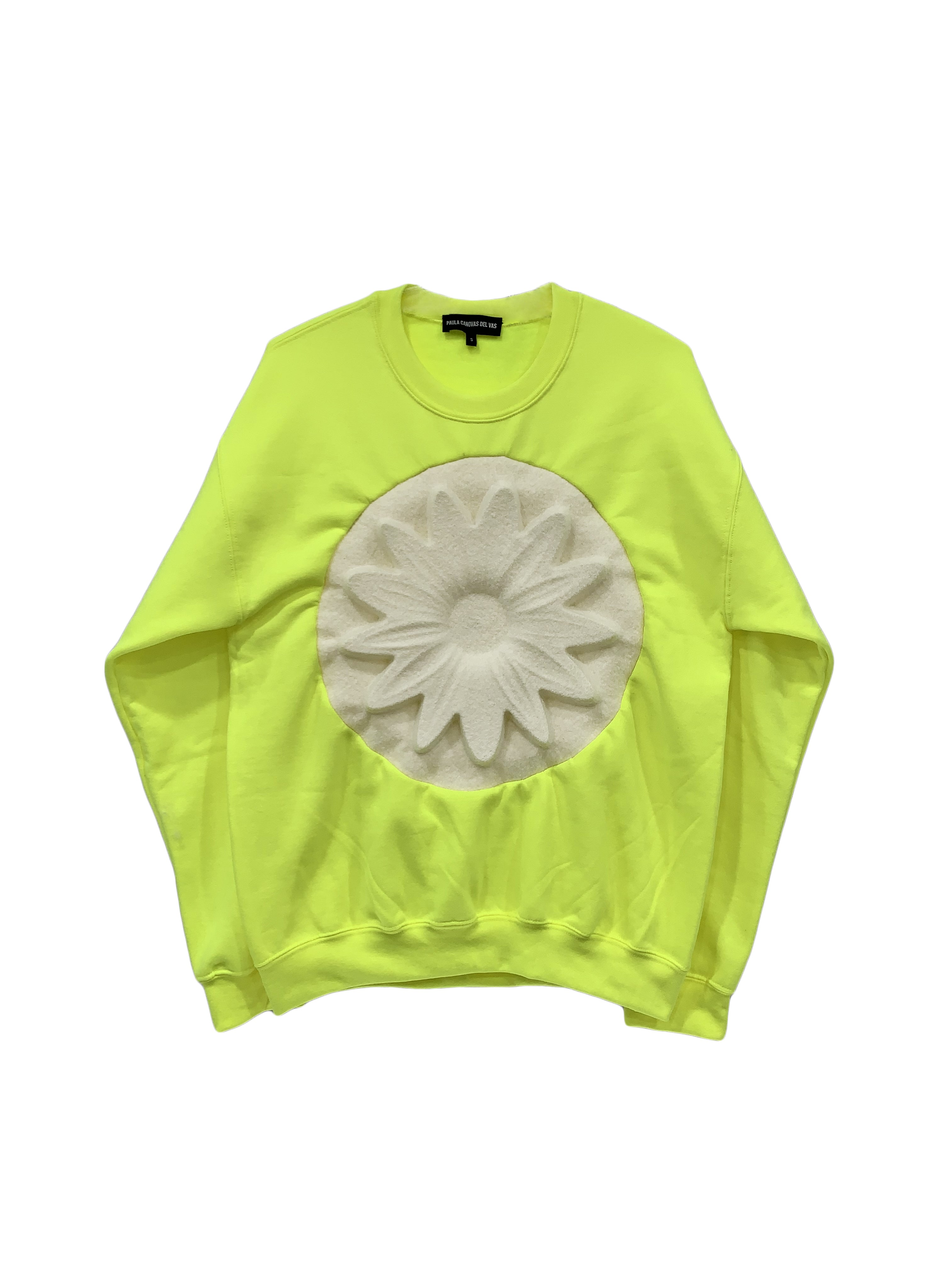 Flower Embossed Sweatshirt (Yellow)