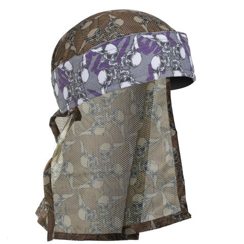HK Army Hostilewear Headwrap - Purple Skulls / Tan Skulls Mesh