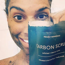 CUSTOMER USING CARBON SCRUB ACTIVATED CHARCOAL BODY SCRUB NATURAL SKINCARE INDIGENOUS ABORIGINAL AUSTRALIAN MADE BUDDY SCRUB FRANK BODY COFFEE SCRUB