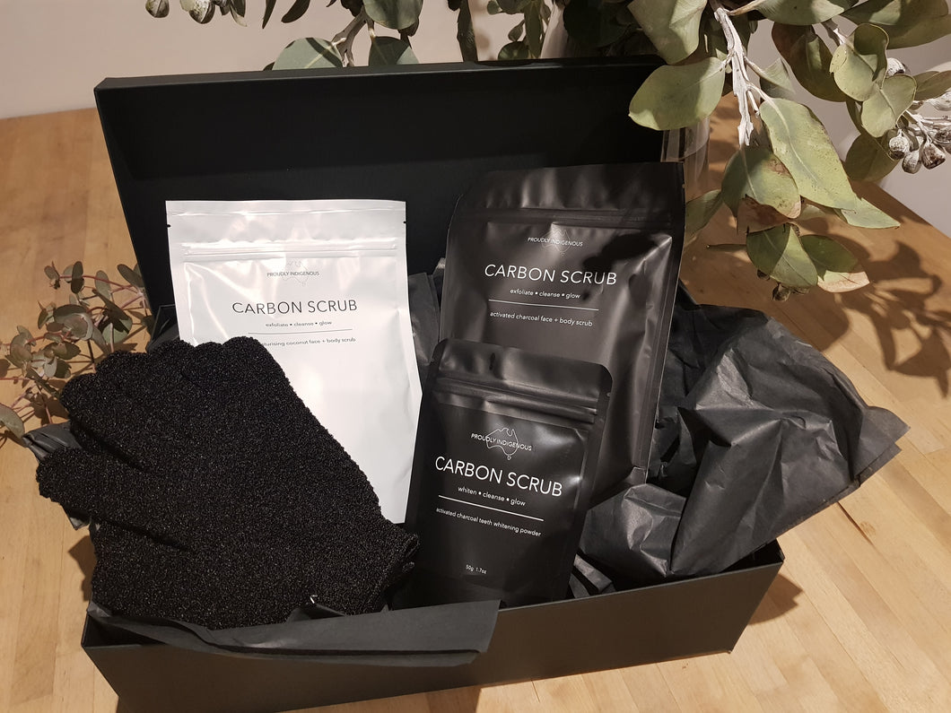 CARBON SCRUB Mothers Day Gift Box Pamper Pack Hamper Australian Made Vegan Natural Skincare Body Scrub Vegan Toothpaste Charcoal