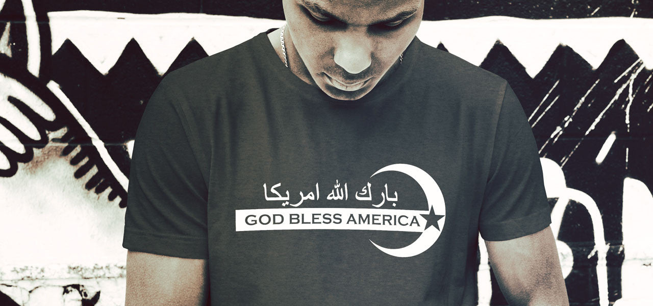 God Bless America bark Allah Amrika Men's Tee Shirt