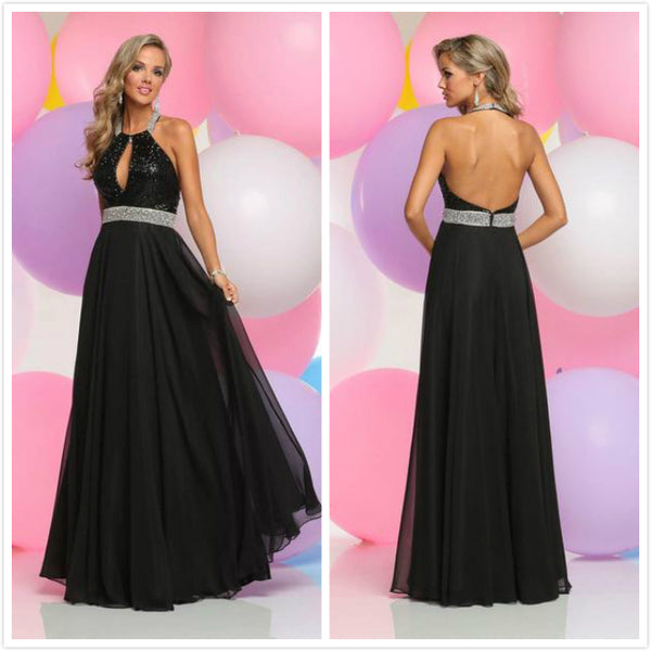 9ceba1f653f Black Long Prom Dresses 2019 A-line Halter Sleeveless Open Back Chiffon