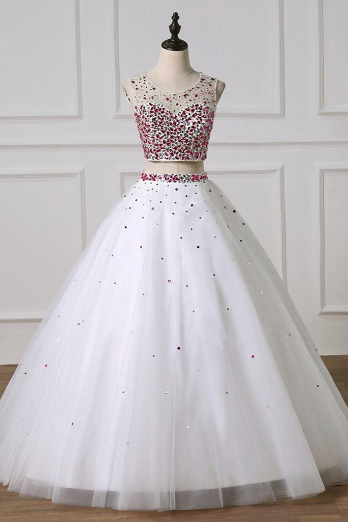 db26ee2a25 ... Gorgeous White Ball Gown Sleeveless Natural Waist Beading Sequins Prom  Dresses 2019 ...