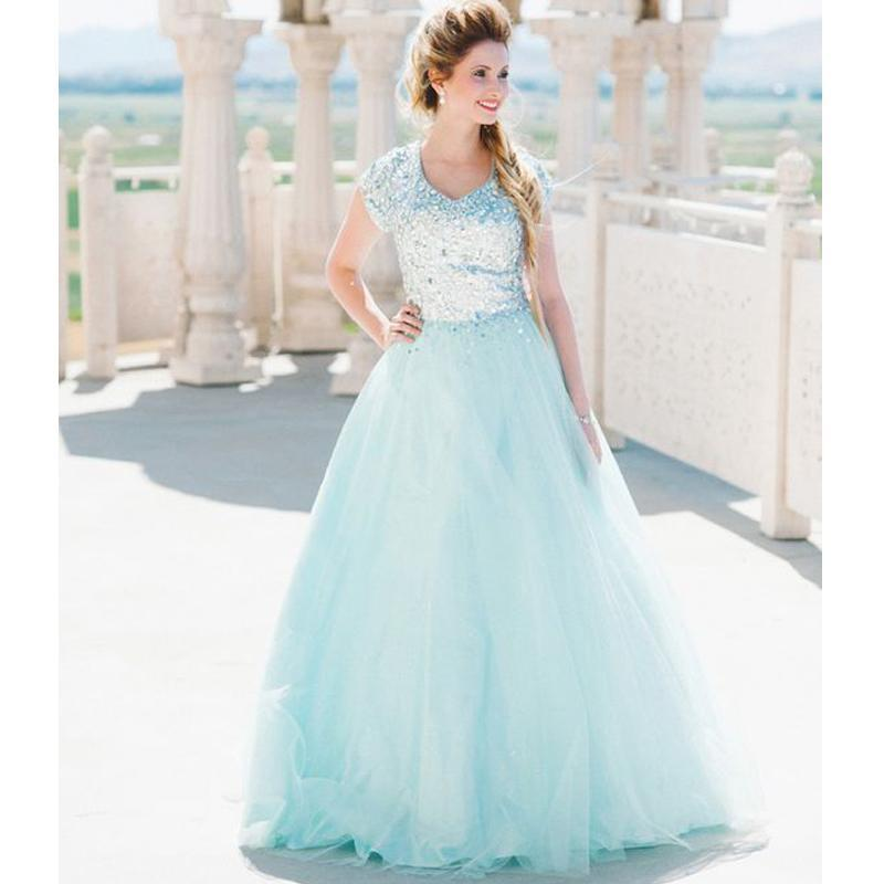 cb6a5d2ca49 Blue V-neck Short Sleeves Tulle Ball Gown Prom Dresses 2019 A-line Modest
