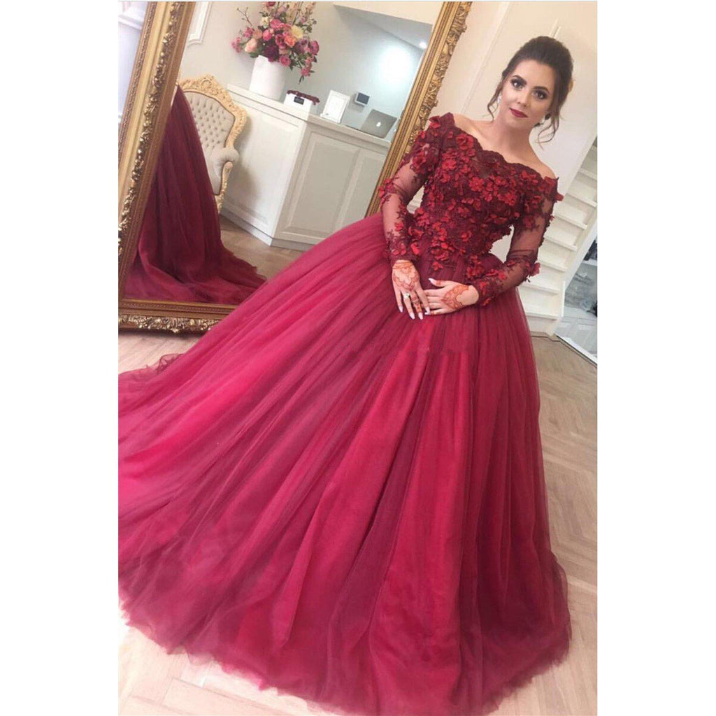 a691490b9d2 ... Burgundy Long Prom Dresses 2019 Ball Gown Long Sleeves-2019 -LoliPromDress.com