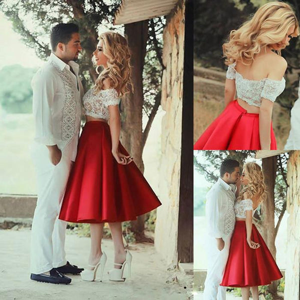 Cute A-line Short Sleeves Zipper Homecoming Dresses 2019 Lace Vintage Two  Piece-2019 7c047ff55