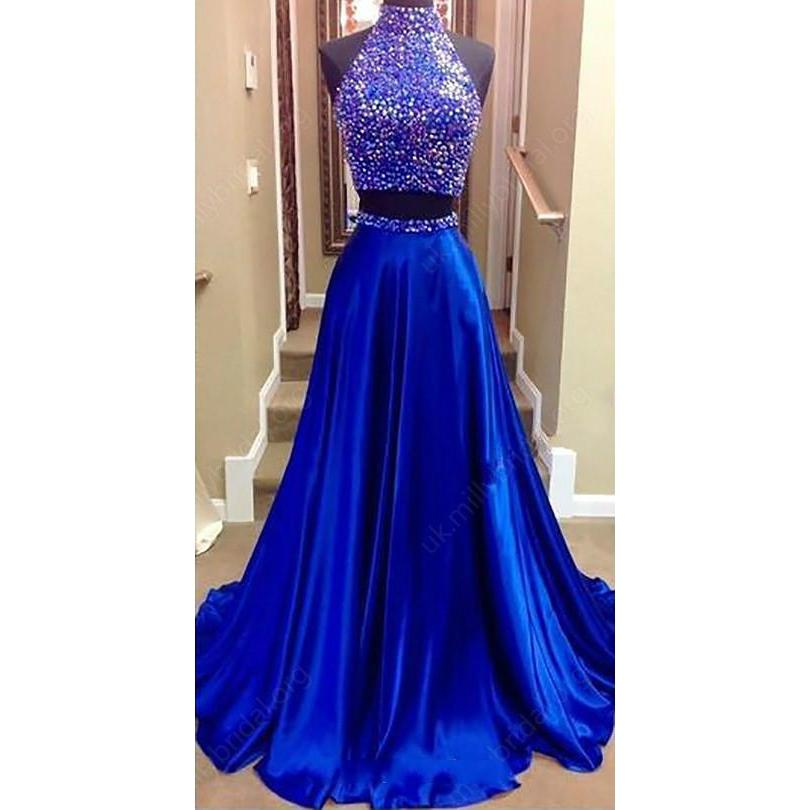 28615dcf ... Long Sexy Red A-line High Neck Sleeveless Sequins Prom Dresses 2019 Two  Piece- ...