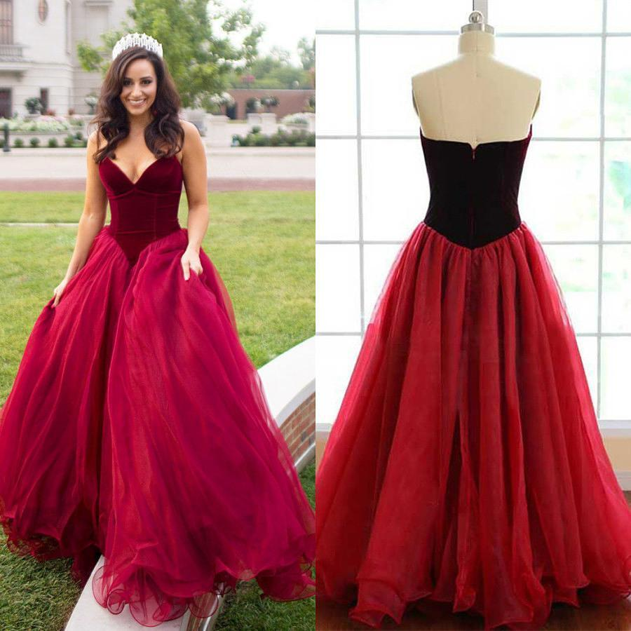 f3e8949145e Long Sexy Red Ball Gown V-Neck Sleeveless Zipper Prom Dresses 2019-2019- ...