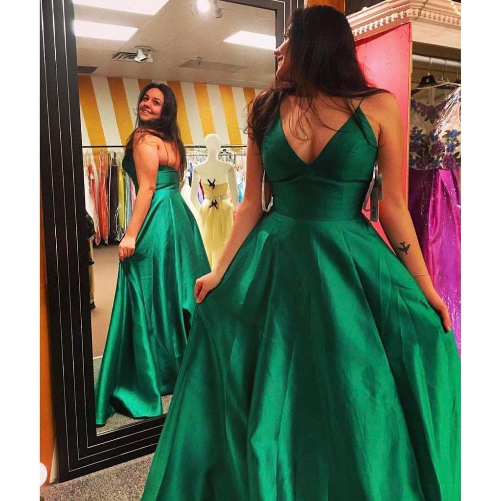 52ba74b038d ... Long Simple Green A-line Spaghetti Straps Sleeveless Prom Dresses 2019 V -Neck- ...