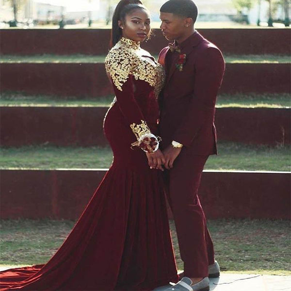 5d429c5bd3  139.99. Plus Size Sexy Burgundy Mermaid High Neck Long Sleeves Zipper  Appliques Prom Dresses 2019-2019