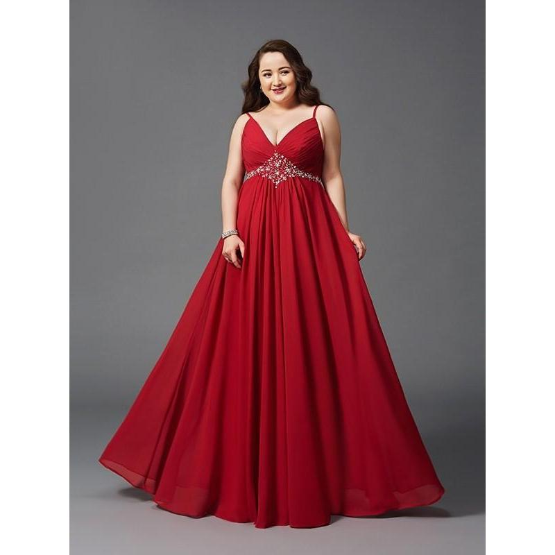 Red Long Prom Dresses 2019 A-line V-Neck Chiffon Plus Size ...