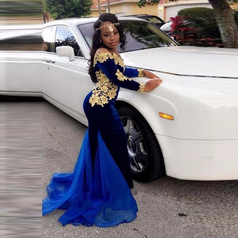 2ede48a2156 ... Royal Blue Long Prom Dresses 2019 Mermaid Long Sleeves African Sexy For  Short Girls-2019 ...