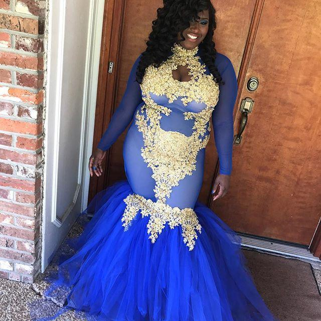 679cea705a3 Royal Blue Long Prom Dresses 2019 Mermaid Long Sleeves African Sexy Plus  Size-2019- ...