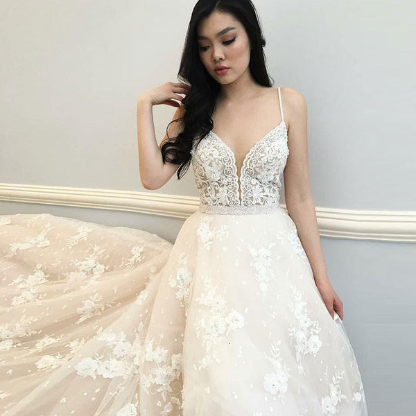 Lace Wedding Gown With Straps: Spaghetti Straps Sweetheart Appliques Lace A-line 2019