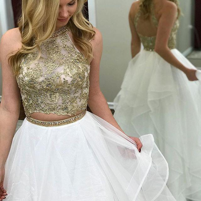 White Long Prom Dresses 2019 A Line Halter Sleeveless Two Piece For