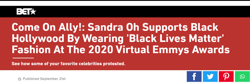 Come On Ally!: Sandra Oh Supports Black Hollywood By Wearing 'Black Lives Matter' Fashion At The 2020 Virtual Emmys Awards