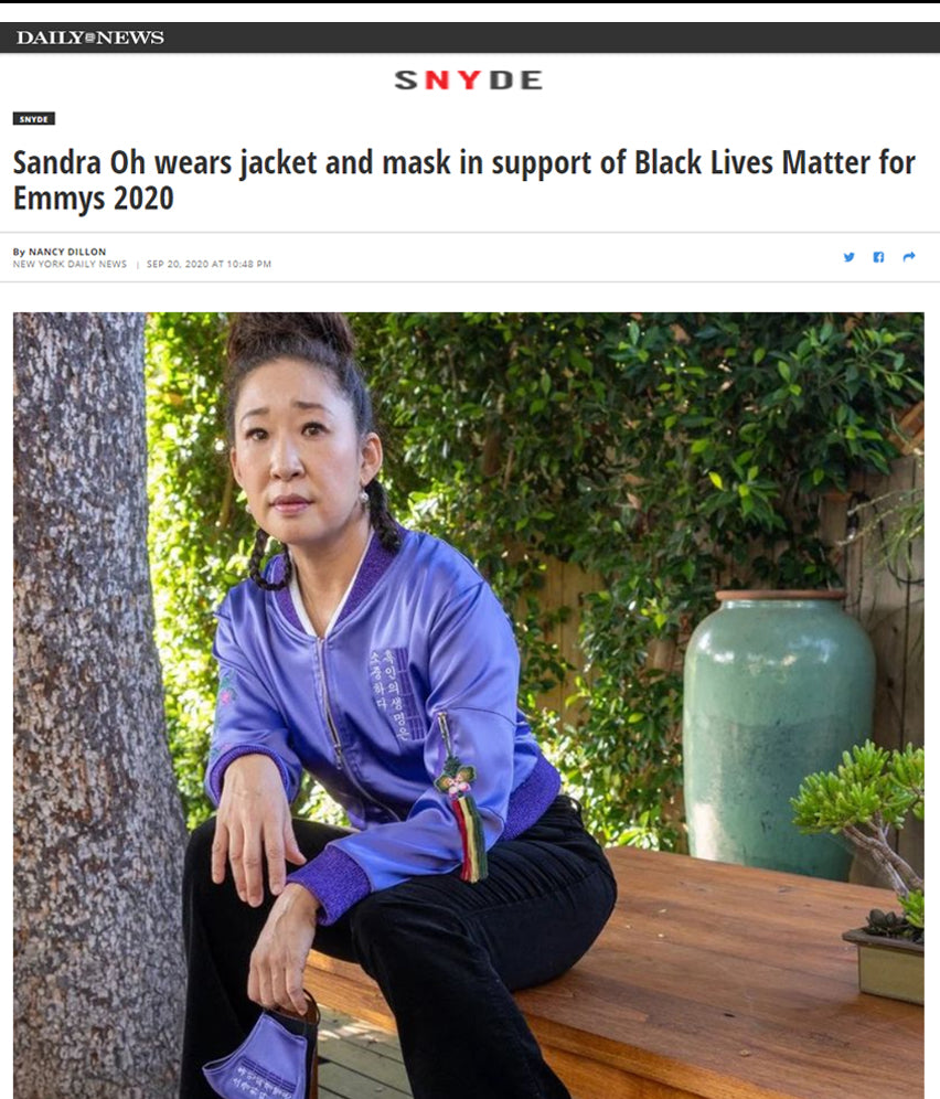 Sandra Oh wears jacket and mask in support of Black Lives Matter for Emmys 2020