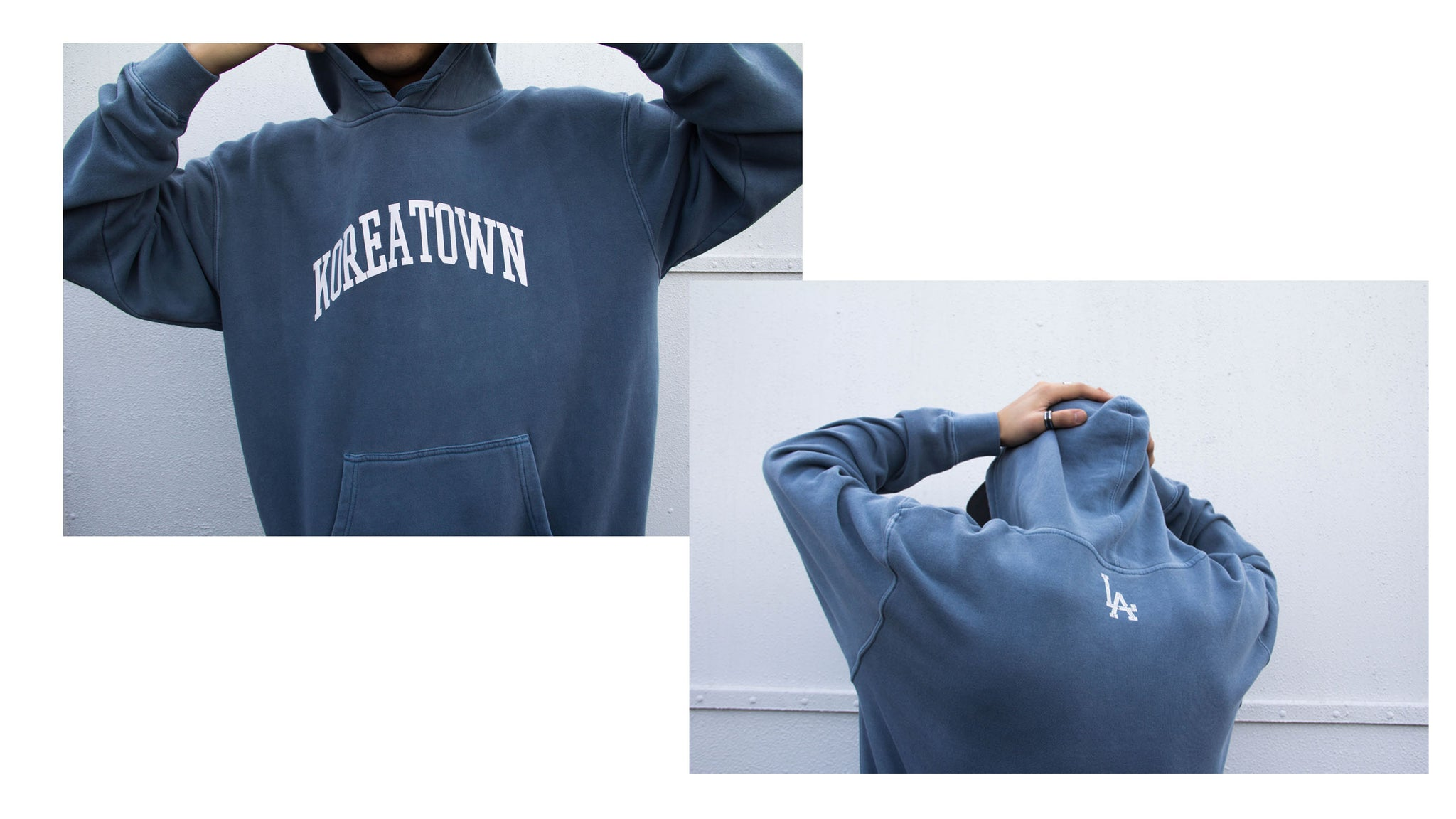 Front and back side of KOREATOWN washed slate hoodie from KORELIMITED.