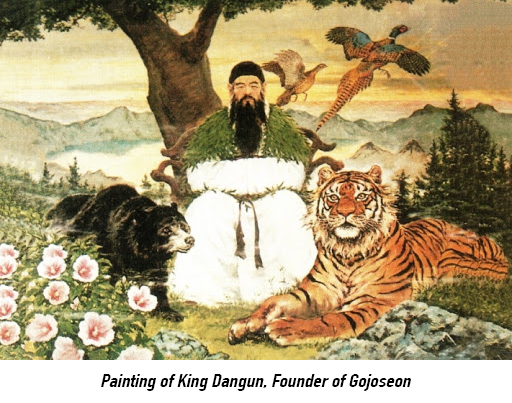 painting - mugunghwa and King Dangun of Gojoseon era