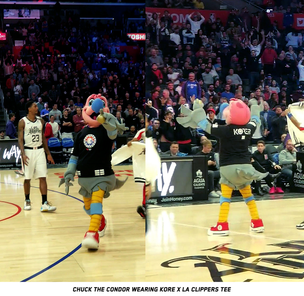 Chuck the Condor wearing KORELIMITED x LA Clippers Korean Heritage Night tee