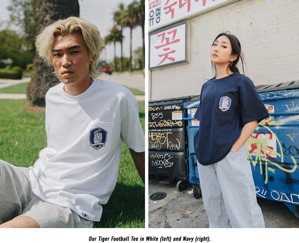 KORE Limited Korean Tiger Football Tee in white and navy