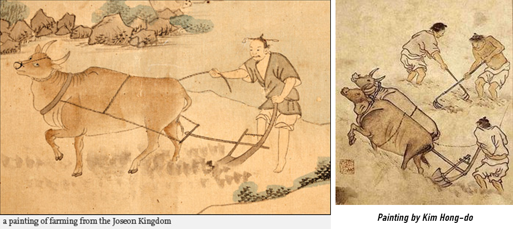 Korean painting of cow and farming