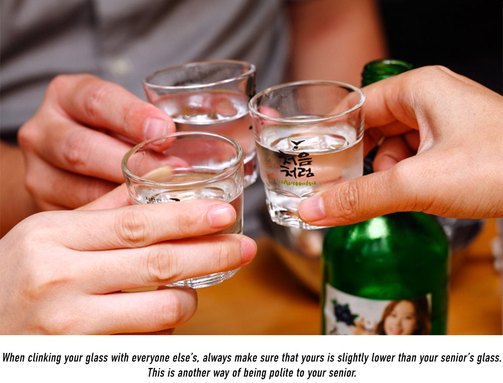 When clinking your glass with everyone else's, always make sure that yours is slightly lower than your senior's glass. This is another way of being polite to your senior.