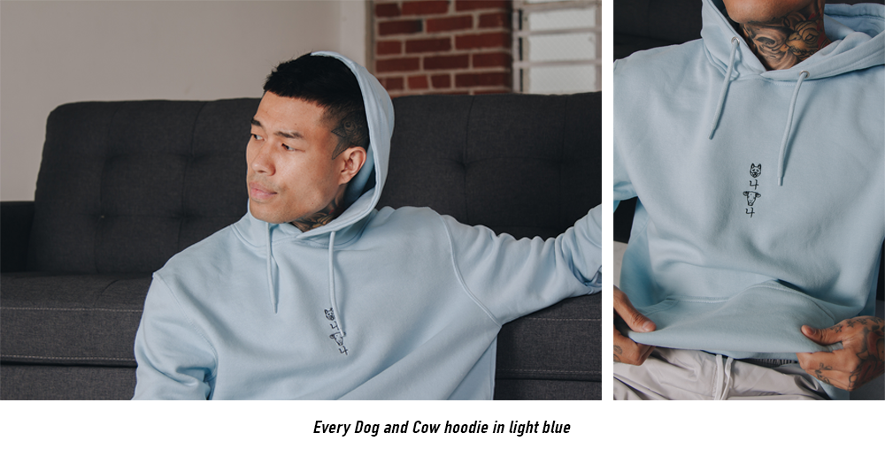 Every Dog and Cow hoodie in light blue