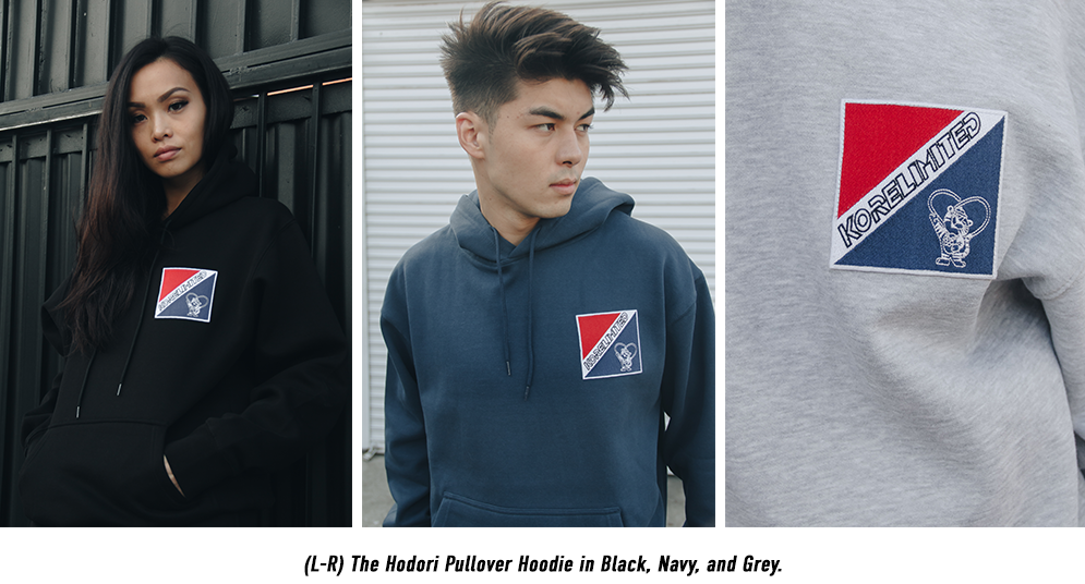 KORE Limited Hodori Pullover Hoodie in Black, Navy, and Grey.
