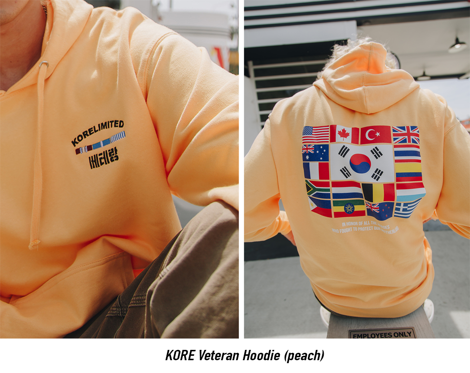 peach Korean War hoodie from Korelimited
