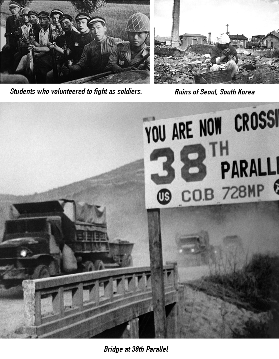 korean war ruins and 38th parallel