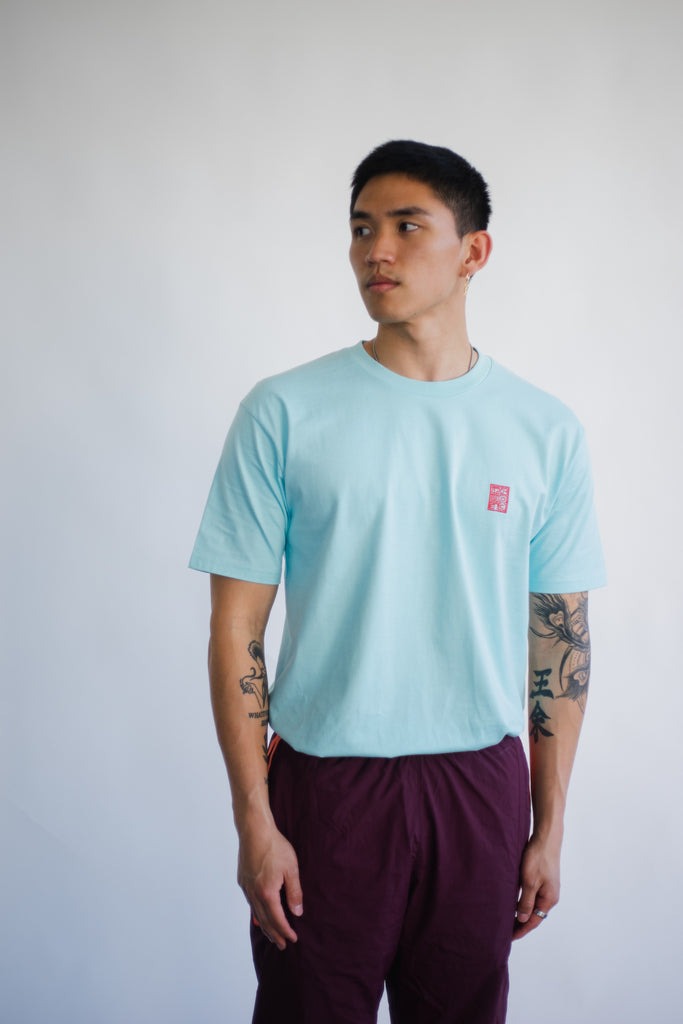 RED STAMP TEE (LAGOON)
