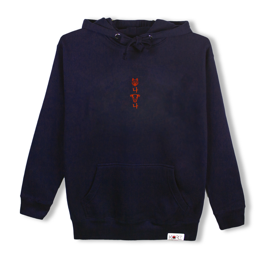 Navy blue Korean hoodie with a cow head and dog head