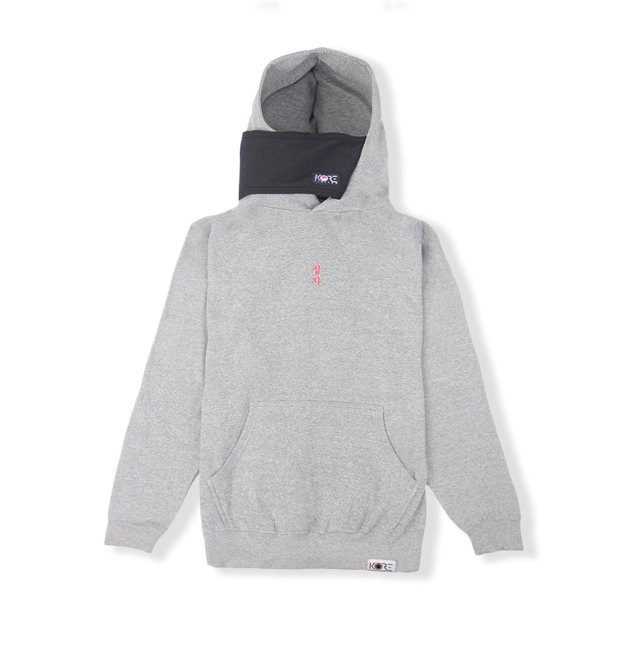 Graphite grey Korean hoodie with attached face mask